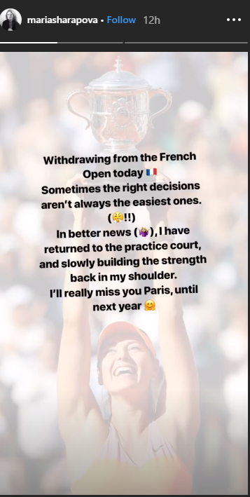 PHOTO COURTESY: MARIASHARAPOVA/INSTAGRAM