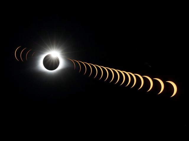 A composite image of 21 separate photographs taken with a single fixed camera shows the solar eclipse as it creates the effect of a diamond ring at totality as seen from Clingmans Dome, which at 6,643 feet (2,025m) is the highest point in the Great Smoky Mountains National Park, Tennessee, U.S. PHOTO: REUTERS