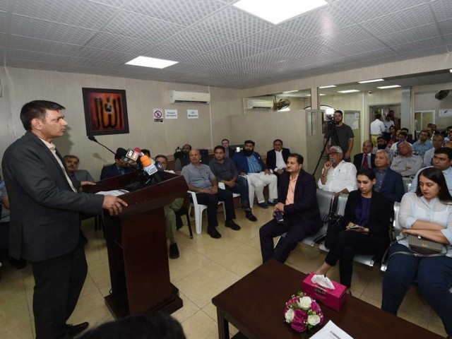 An FBR official addresses Pakistani diaspora at the Pakistan Consulate General in Dubai. PHOTO: GULF NEWS