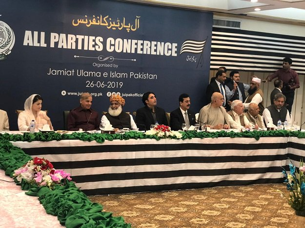 Opposition leaders attend an all parties conference in Islamabad. PHOTO: EXPRESS