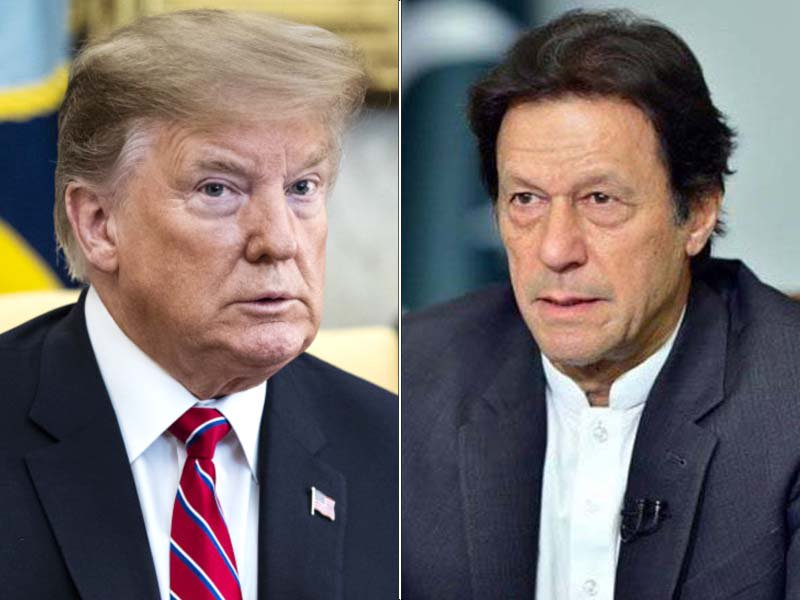 A collage of Prime Minister Imran Khan and US President Donald Trump. PHOTO: FILE