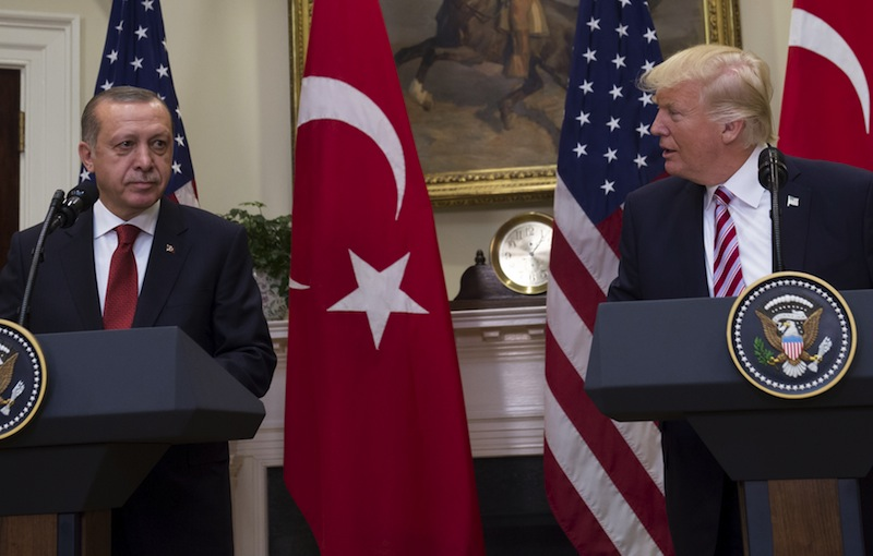 US President Donald Trump and Turkish President Recep Tayyip Erdogan speak to the press in the Roosevelt Room of the White House in Washington. PHOTO: AFP