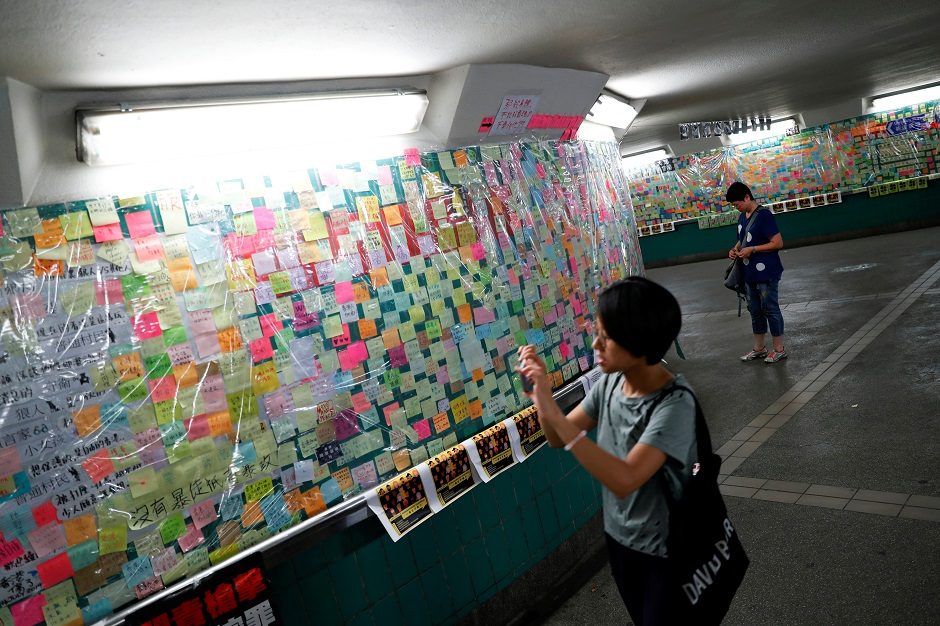 Notes against the proposed extradition bill are seen Tai Po, in the northern part of the New Territories of Hong Kong:REUTERS