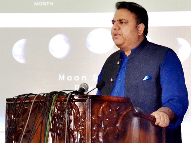 Minister of Science and Technology Fawad Chaudhry launches moon sighting website at a ceremony in Lahore on Sunday. PHOTO: INP