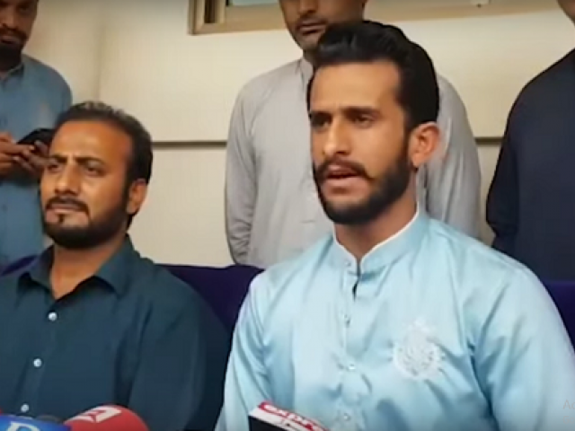 Hassan Ali addresses a press conference in Gujranwala on Friday. SCREEN GRAB