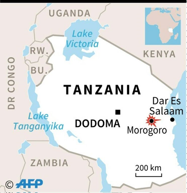 Map of Tanzania locating Morogoro. PHOTO: AFP
