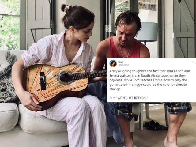 Harry Potter: Stars Tom Felton and Emma Watson play guitar together