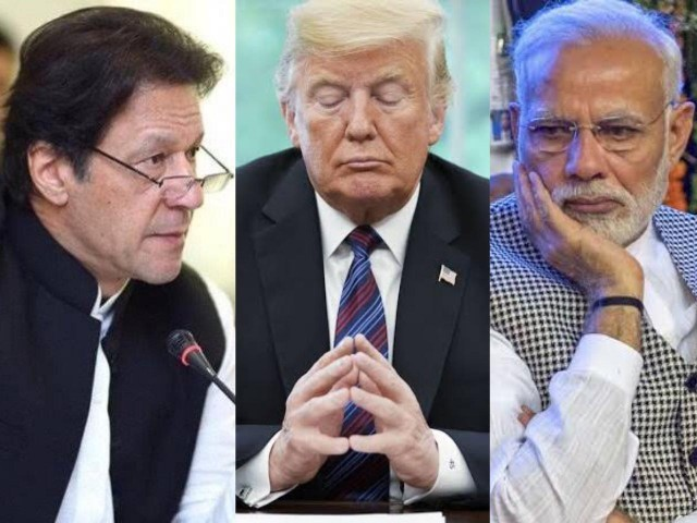 A collage of PM Imran Khan [L], US President Trump [C] and Indian PM Modi [R].