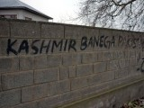 "Graffiti on a wall reading ""Kashmir will become Pakistan"" is pictured in Pinglan village in occupied Kashmir's Pulwama district March 23, 2019. PHOTO: REUTERS"