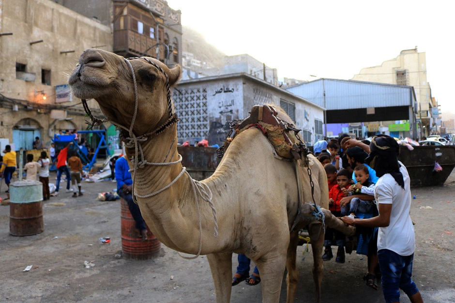 Yemeni children sit behind a camel as people celebrate Eidul Azha in Aden. PHOTO: AFP