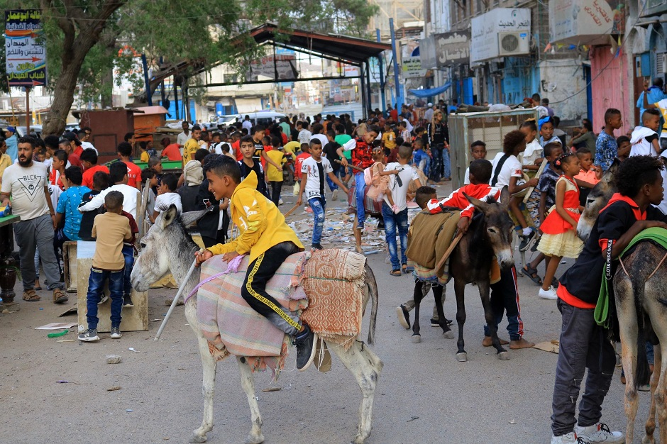 Yemenis celebrate the Eidul Azha in Aden, a few days after Southern Transitional Council's (STC) separatists seized the presidential palace and army camps. PHOTO: AFP