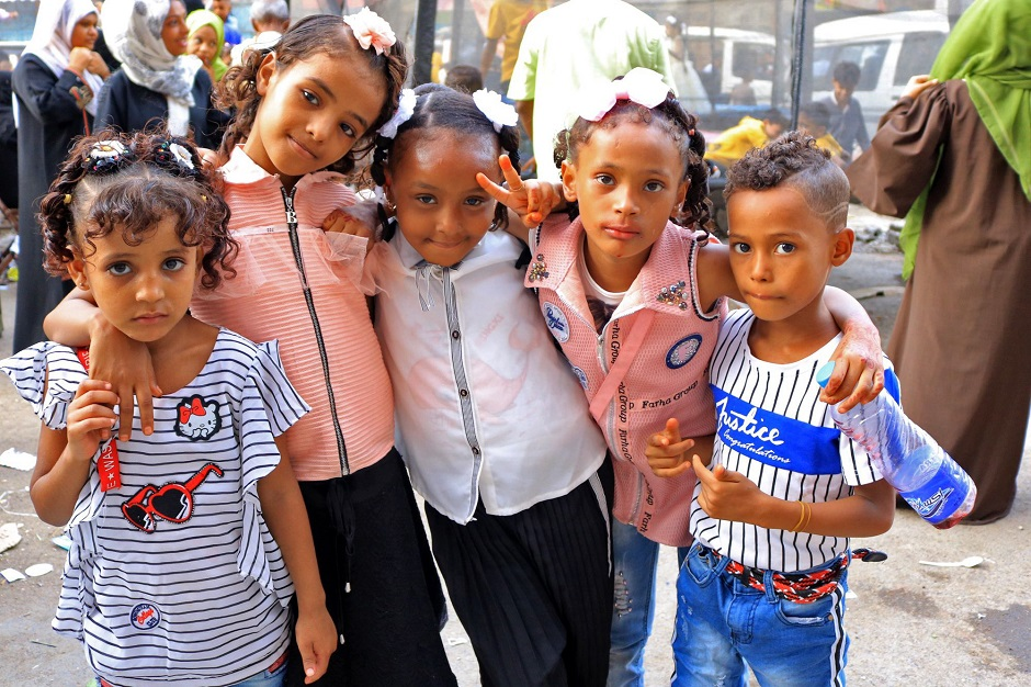 Yemeni children pose for a photograph as people celebrate the Eidul Azha. PHOTO: AFP