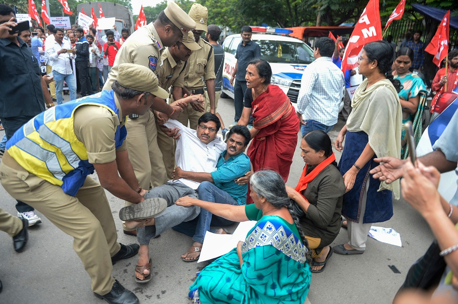 Members of the Communist Party of India are detained by police at a protest in Hyderabad on August 7, 2019, in reaction to the Indian government scrapping Article 370 that granted a special status to Jammu and Kashmir. PHOTO: AFP