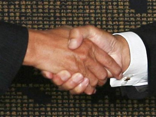 Representational image of a handshake. PHOTO: REUTERS