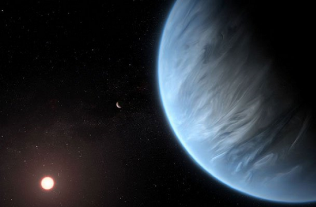 A handout artist's impression released by ESA/Hubble shows the K2-18b super-Earth. PHOTO: AFP