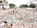Piles of garbage accumulated in Korangi area has been contributing to the unhygenic atmosphere in the city. Various health issues have plagued citizens as the city rots in light of negligent authorities. PHOTO: PPI
