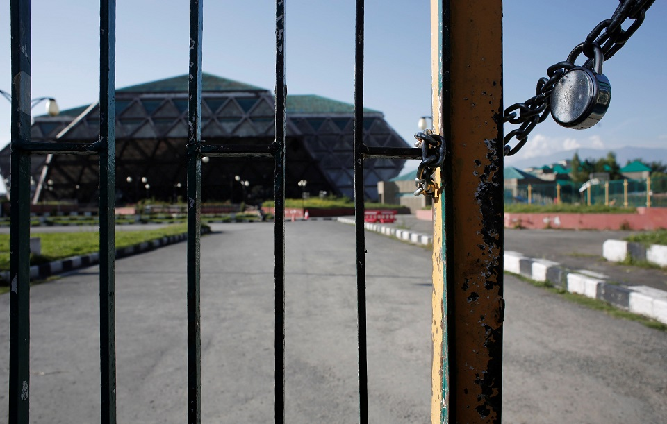 An indoor stadium is seen locked during restrictions in Indian Occupied Kashmir. (PHOTO: REUTERS)