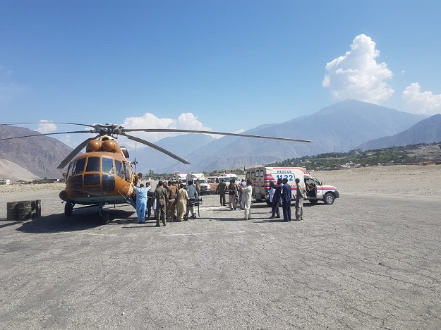 Army helicopters were used to transport the dead and injured to CMH Gilgit. PHOTO: ISPR