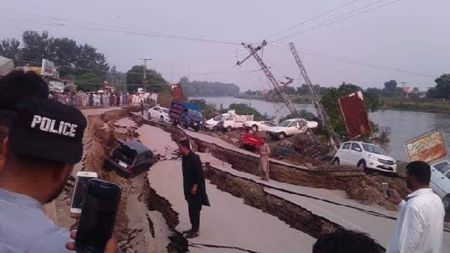 Road damage in Mirpur district