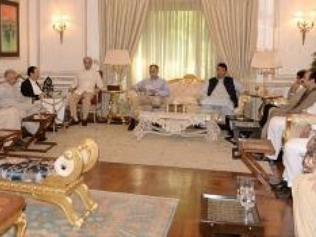PML-N President Shehbaz Sharif presides over party meeting in Lahore. PHOTO: NNI