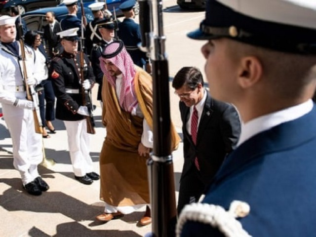 Saudi Arabia's vice minister of defence, Prince Khalid bin Salman, and US defense secretary, Mark Esper, walk to a meeting at the Pentagon in Washington, on 29 August. PHOTO: AFP