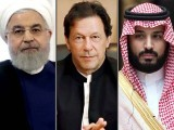 Iranian President Hassan Rouhani (left), Prime Minister Imran Khan and Saudi Crown Prince Mohammed bin Salman. PHOTO: FILE