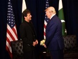 PM Imran, US president meet on the sidelines of UNGA session in New York. PHOTO: PID