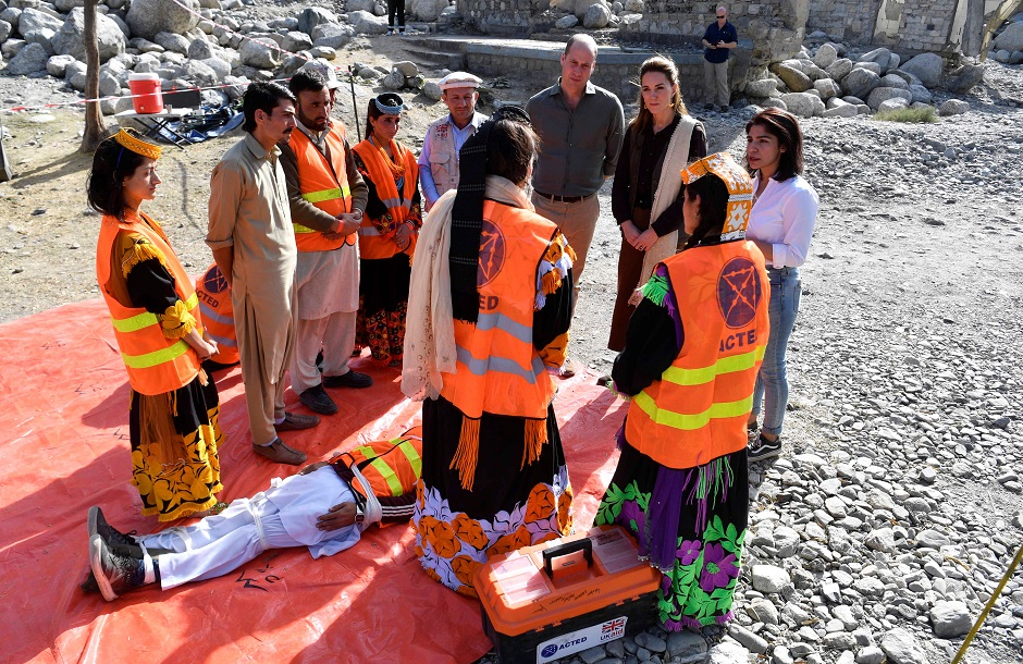 Britain's Prince William and Catherine, Duchess of Cambridge visit a village in the Chitral District of Khyber-Pakhtunkhwa. PHOTO: REUTERS
