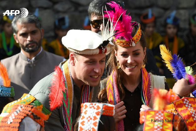 Prince William and his wife Kate meet the ancient, animist Kalash tribe. PHOTO: AFP