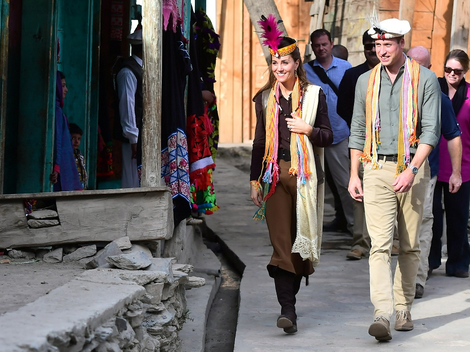 Britain's Prince William and Catherine, Duchess of Cambridge visit a settlement of the Kalash people in Chitral, Pakistan. PHOTO: REUTERS