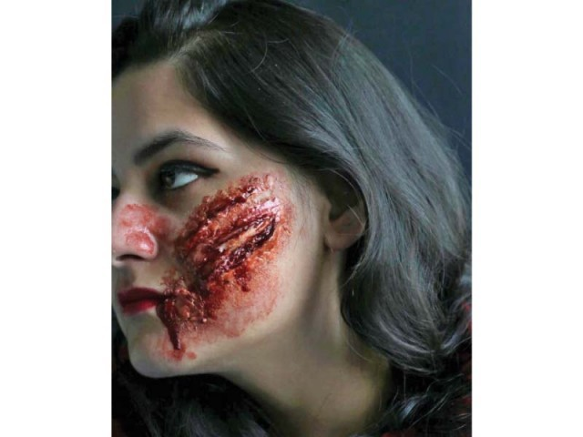 Some of the workd of special effects makeup artist Darakhshan Uzair. PHOTOS: EXPRESS
