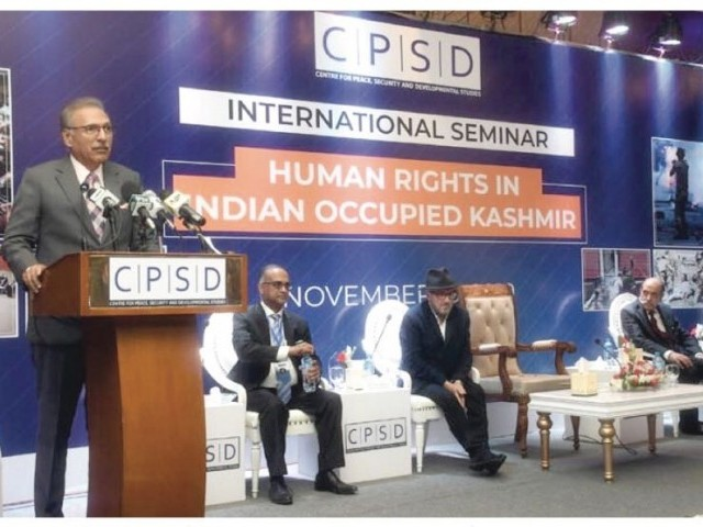 Speakers at the International seminar on human rights in IOK. PHOTO: APP