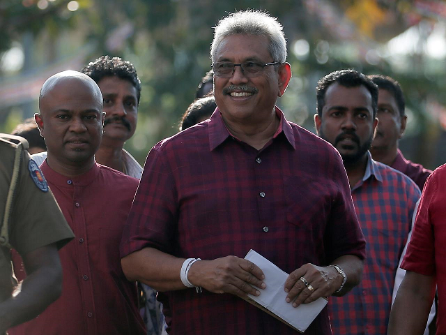 Sri Lanka People's Front party presidential election candidate and former wartime defence chief Gotabaya Rajapaksa leaves after casting his vote during the presidential election in Colombo, Sri Lanka November 16, 2019. PHOTO: REUTERS
