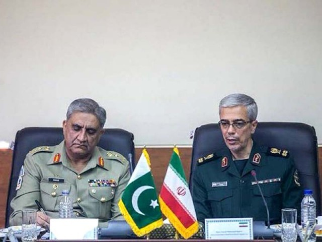 Army chief General Qamar Javed Bajwa with Chief of Staff Iranian Armed Forces Major General Mohammad Hossein. PHOTO: ISPR