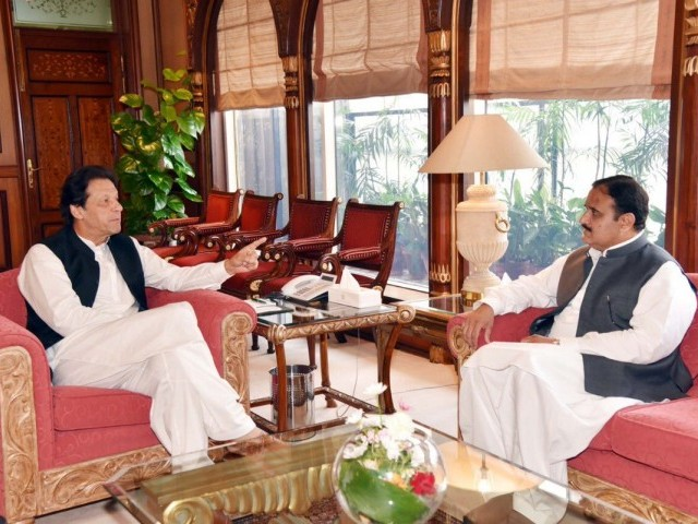 PM Imran Khan in a meeting with Punjab CM Usman Buzdar. PHOTO: FILE