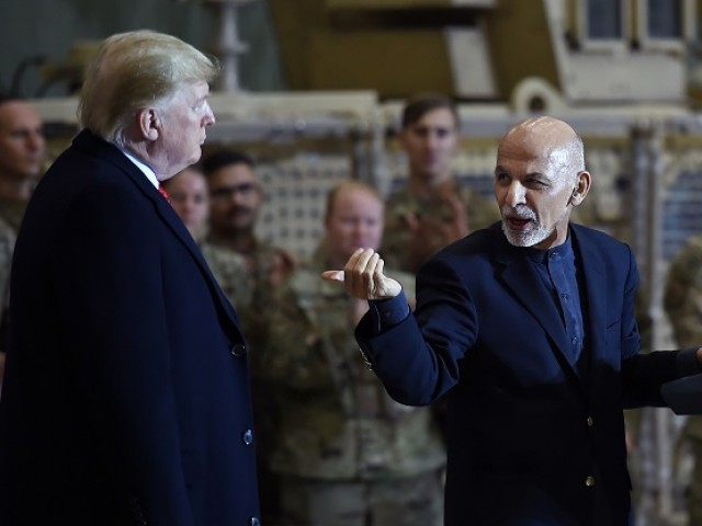 Afghan's President Ashraf Ghani addresses US troops during a surprise Thanksgiving day visit of US President Donald Trump. PHOTO: AFP