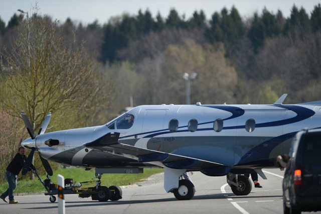 A file picture shows a Pilatus PC-12 single-engined aircraft similar to the one involved in the crash, in which nine people were killed. PHOTO: AFP