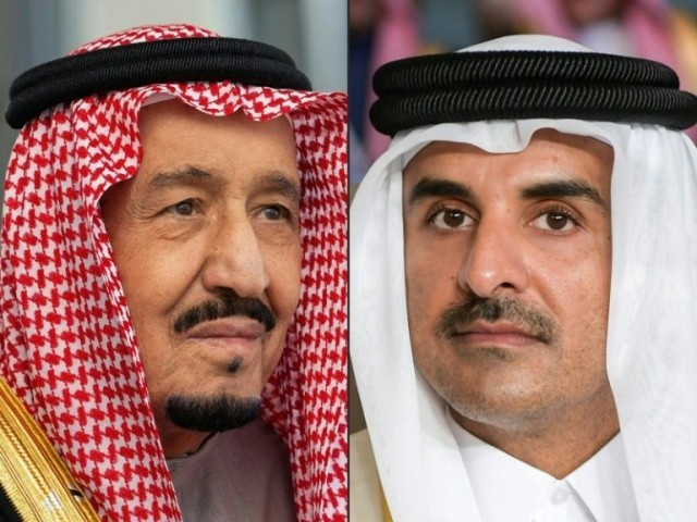 AFP file photos of KSA King Salman and Qatari Emir Sheikh Tamim bin Hamad Al-Thani.
