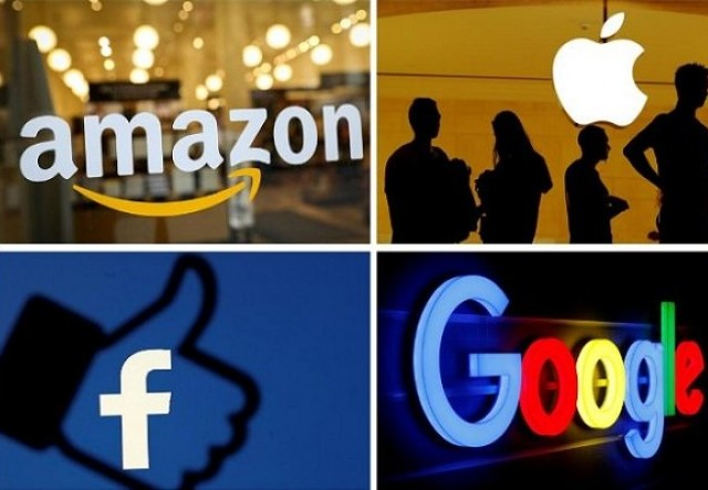 The logos of Amazon, Apple, Facebook and Google in a combination photo from Reuters files.PHOTO: REUTERS
