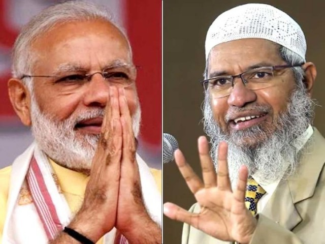 File photo of Indian PM Narendra Modi (Left) and Zakir Naik (Right)
