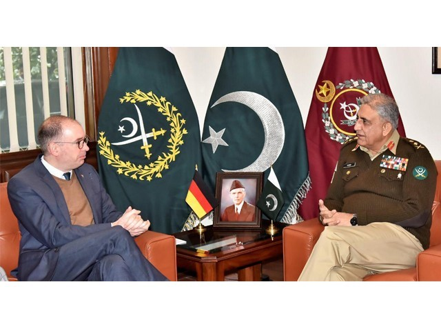 Niels Annen with Gen Qamar Javed Bajwa at the GHQ in Rawalpindi. PHOTO: ISPR
