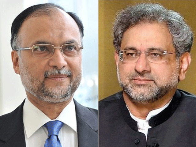 File photos of Ahsan Iqbal (L) and Shahid Khaqan Abbasi (R)