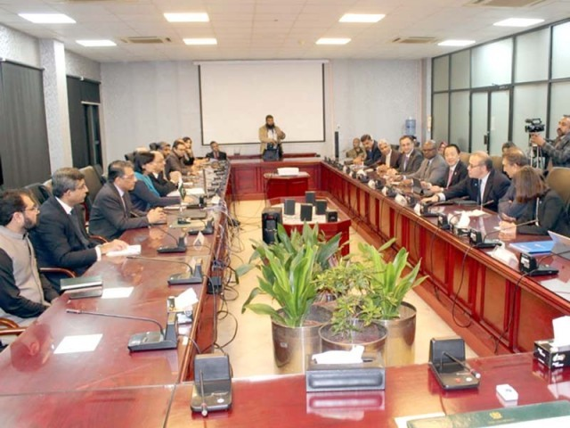 SAPM on Poverty Alleviation Dr Sania Nishtar and FAO delegation led by FAO DG Qu Dongyu hold meeting. PHOTO: EXPRESS