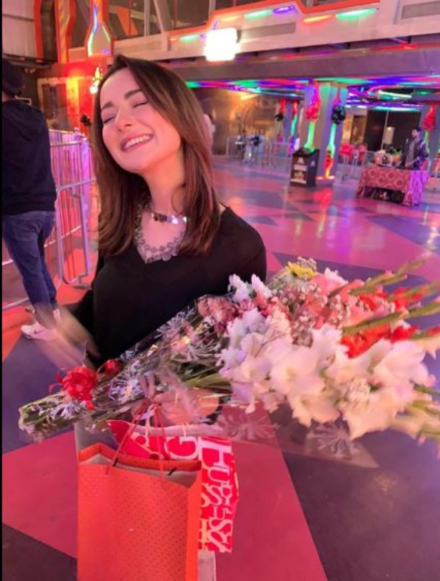 Hania Aamir with flower