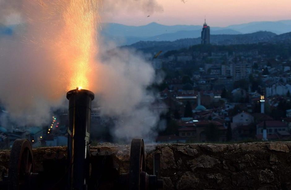 mid a national lockdown, a cannon overlooking Sarajevo's Old Town is fired on at sunset to mark the beginning of the holy Muslim month of Ramadan in Bosnia-Herzegovina. PHOTO: AFP