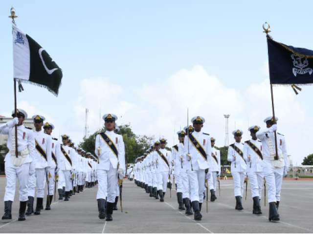 Commissioning parade comprised 100 Midshipmen and 65 cadets of SSC Course.PHOTO: PAKISTAN NAVY