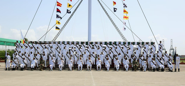 Commander Pakistan Fleet Vice Admiral Asif Khaliq in a group photo with midshipmen and SSC cadets. PHOTO: PAKISTAN NAVY